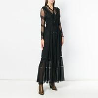 yüksek boyunlu örgü toptan satış-Dantel Patchwork Seksi Elbise Kadın V Boyun Perspektif Yüksek Bel Örgü Zarif Kadın Elbiseler Bahar 2019 Moda