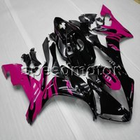 siyah pembe r1 kaplamalar toptan satış-Özel + Vidalar ABS pembe siyah kaporta YZFR1 04-06 YZF-R1 2004 2005 Yamaha için 2006 motosiklet panelleri