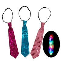 ingrosso cravatta decorazioni per le feste-Cravatte a LED luminose con paillettes per bambini Colori variabili per adulti Cravatta Led in fibra di cravatta Moda Decorazioni per feste di Natale DHL WX-C18