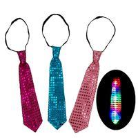 decorações do partido gravata venda por atacado-LED Luminosa Lantejoulas Pescoço Ties Crianças Adulto Cores Mutáveis Gravata Levou Fiber Tie Moda Xmas Decorações Do Partido DHL WX-C18