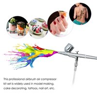 brosses à air achat en gros de-Freeshipping Mini Compresseur D'air Ensemble Double Action Airbrush Gravity Air Brush Kit Pour Manucure Artisanat Cake Spray Outil Nail Tool Set