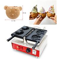 dondurma makinesi toptan satış-2 adet Dondurma Ayı Taiyaki Baker 110 V 220 V Karikatür Hayvan Sevimli Ayı Şekli Waffle makinesi Makinesi Demir Baker Pan