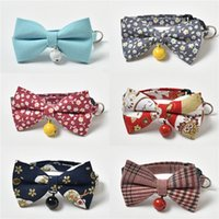 Wholesale make dog collars for sale - Group buy Hand Made Braided Pet Collars Dog Cat Bowknot Collar Cartoon Style With Small Bell Harness For Kitty Puppy Teddy Poodle Flexible Cats Lea