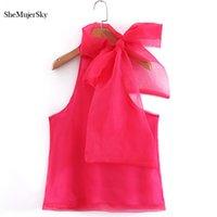 camisa de gasa de las señoras coreanas al por mayor-Blusa de gasa roja de Shemujersky Mujeres con bowknot sin hombros Tops Damas sin mangas Camisas de verano Top coreano