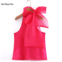 ingrosso camicia sleeveless rossa-Shemujersky Red Chiffon Blouse Women With Bowknot Off Shoulder Top Ladies Sleeveless Summer Shirts Top coreano