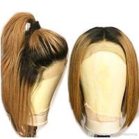 siyah saç orta kısmı toptan satış-Yeni Seksi İki Ton Ombre Kahverengi Kısa Bob Saç Isıya Dayanıklı Fiber Koyu Kökleri Sentetik Dantel Ön Peruk Siyah Kadınlar için Orta Bölüm