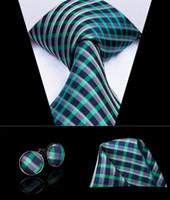 HI-TIE New Arrving Ties Plaid Tie Hanky Cufflinks Set New Classic Design Silk Gravatas Mens Necktie on Sale N-3050