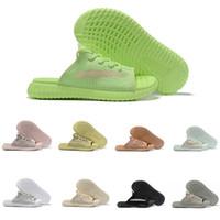 Wholesale sandals resale online - 2019 New GID Clay Blue Tint Black White Static Antlia Mens Womens Designer Slides Slippers Kanye West platform sandals Size