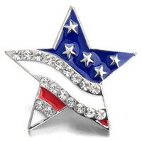 ingrosso scatti americani-10Pcs 2019 Big Size Snap gioielli strass bandiera americana 18 MM bottoni automatici lega Vintage Button fit Snap Bracciale