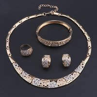 OEOEOS African Beads Jewelry Set Fashion Dubai Gold Color Necklace Earrings Bracelet Ring Sets India Design For Wedding Brides