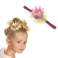 kız başlıklar fotoğrafları toptan satış-Sevimli Parlak Net İplik Kızlar Doğum Parti Şapkası Prenses Taç Bebek Doğum Günü Pastası Fotoğraf Dikmeler Çocuklar Parti Dekoru Caps