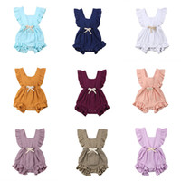 Wholesale summer girls ruffle rompers resale online - Baby Girl Rompers Design Summer Solid Ruffle Rompers Baby Infant Girl Designer Clothes Cotton Climb Bodysuits Baby Jumpsuits M