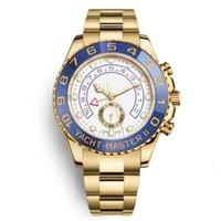 vidro azul safira venda por atacado-Luxo Watche Mens 44mm Azul Automático Cerâmica Bezel Mens Relógios De Aço Inoxidável de Vidro De Safira YACHT Relógio de Pulso Multifuncional Chrono