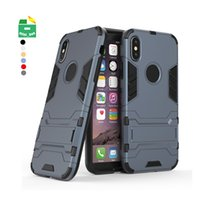 Wholesale phone cases resale online - 2 in TPU PC Shockproof Case Cover Phone Stand Holder for iPhone X XS MAX XR S Plus
