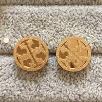 kabuk üstleri toptan satış-En Kaliteli Çift T Damga Sıcak Satış Kulak Damızlık Lüks Tasarımcı Paslanmaz Çelik Altın Gümüş Gül küpe Kadınlar Ücretsiz Kargo