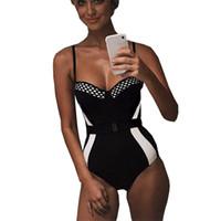 mono de una pieza femenino al por mayor-Nuevo estilo corsé traje de baño empuja hacia arriba los trajes de una pieza Cinturón de cintura alta Bikini 1 Bañistas delgados Body traje de baño femenino