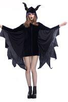 schwarze fledermauskostüme großhandel-Glamcare Theme Kostüm Halloween-Schläger-Kostüm Schlaf Magie Fluch Horn Schwarz S-XXL