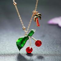 кокосовое дерево ожерелье оптовых-YANGQI Lucky Cherry Pendant Necklace With Coconut Tree Decorated For Women Personality Trendy Jewelry Necklace Gold Color