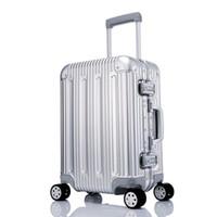 ingrosso bagagli in lega-100% Tutti i bagagli in lega di alluminio Carrello di laminazione Hardside Valigia da viaggio da viaggio 20 Carry on 25 29 Checked