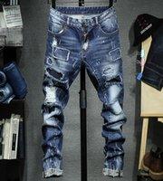 patch jeans marques achat en gros de-Pantalon de designer de luxe européen américain de la marque de marée jeans pour hommes pieds pieds auto-cultivant un patch trou élastiqué pour détruire les pantalons en denim