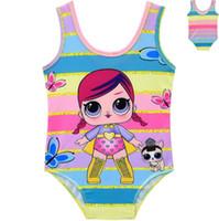 Wholesale doll lowest for sale - Girls Cartoon Doll Bikini Rainbow Striped Summer Kids One Piece Swimsuit Suprise Bathing Suit Beachwear OOA6817