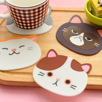 Wholesale cute coasters resale online - Cute Cat Pattern Silicone Insulation Placemat Coaster Cup Bowl Mat Lovely Home Decor Table Mat Place Pad