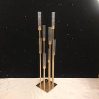 candelabros de vidrio pilar al por mayor-810 cabezas Candelabros telones de fondo Camino puntales de plomo Centro de mesa de oro del soporte del metal pilar de velas para la boda Candelabro ZZA1366
