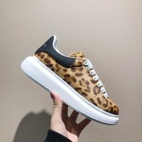 Wholesale leopard print sneakers resale online - new logo Leopard Print platform sneakers woman with box leather shoes with thick bottom round thin white lace muffin Korean show shoes