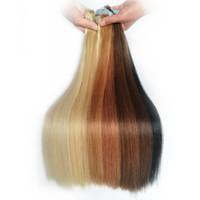 saç 24 sarışın toptan satış-24 Inç 100 Gram içinde 40 Adet Dikişsiz Bant Remy İnsan Saç Uzantıları Platin Sarışın Renk # 60 Düz Gerçek İnsan Saç Uzantıları Bant Saç