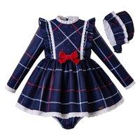 vestidos de arco infantil al por mayor-Pettigirl niña de ropa volante de los azules vestidos de rejilla otoño + PP + pantalones del bonete con arco infantil de las muchachas ropa G-DMCS208-240