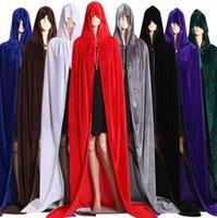ingrosso costumi cosplay medievali-Hood Velvet Cape per Natale Halloween Costumi Cosplay Donna Uomo medievale Witchcraft Cape Costume Halloween KKA6857