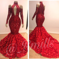 Wholesale 3d flowers dresses for sale - Luxury Dubai D Flowers Floral Red Sequin Prom Evening Dresses High Neck Long Sleeves Mermaid Formal Gowns Party Dress