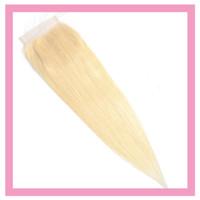 dantel kapakları bebek kılları toptan satış-Perulu 100% Insan Saçı Tarafından Dört Dört Dantel Kapatma 613 # Sarışın Düz Dantel Kapatma Bebek Saç Ile 8-22 inç