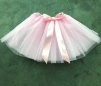 Wholesale puffy clothing online - Summer Kids Clothing Puffy Children Mini Skirt Years Princess Pink Baby Girl Tulle Tutu Skirt