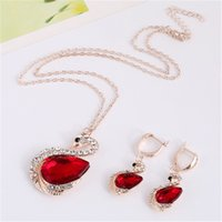 Wholesale swarovski crystals swan resale online - Ruby Necklace Set Hot Sale Sparkle Swarovski Crystal Element Swan Shaped Wedding Jewelry Set Fashion Womens Earrings Set THN51
