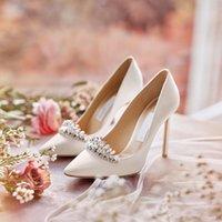 kadınlar 33 topuklu toptan satış-6 8 10cm Nokta Toe 2019 beyaz düğün ayakkabı ucuz ama kaliteli Tasarımcı kadınlar ipek yüksek topuklu ayakkabılar boyutunu 33-40 ücretsiz kargo pompaları