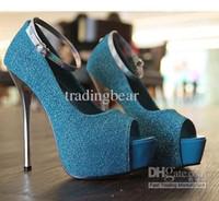 Wholesale platform strappy buckle stiletto shoes for sale - Sexy2019 Elegant Women s Shoes Blue Platform Pumps Colors Ankle Strappy Pumps Dress Shoes Size To