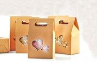 çanta hediye paketi kağıdı toptan satış-50 adet Kraft Kağıt Parti / Düğün Hediye Çanta, Kek / Çikolata / Şeker Ambalaj Torbaları Stand Up Temizle PVC pencere Mühür kutuları