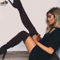 ingrosso sopra gli stivali di cuoio sulle ginocchia-YIBING1517 2019 Stivali da festa sexy Scarpe in pelle scamosciata moda Stivali sopra il ginocchio con tacco Stivali Stretch floccata Inverno alta botas