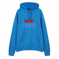 bebek mavisi kışlık kat toptan satış-büyük indirim! UNHS ÜST yeni Klasik TEAL bebek mavi kutu logosu hoodie nakış mektubu marka Polar Sonbahar Kış Coat 16 renkler