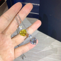 ingrosso pendente del cuore giallo-Luxury Classic Designer famoso S925 Sterling Silver Full Zircone bianco giallo a forma di cuore di cristallo collana pendente di fascino per i monili delle donne