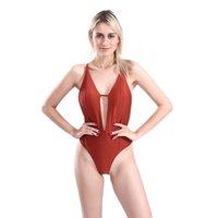 tek parça mayolar brazilian kesim toptan satış-Kadın V Boyun Backless One Piece Bikini Mayolar Yüksek Kesim Monokini Tanga Brezilyalı Mayo Mayo