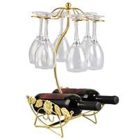 подставка для вина оптовых-Wine Rack Wine Bottle Holder Glass Cup Holder Display Champagne Bottles Stand Hanging Drinking Glasses Stemware Rack Shelf