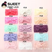 Wholesale hair bows for infant girls resale online - New Infant Knot Headband Hair Bow Frayed cutoff Hair Accessories Soft Nylon band for girl Fashion breathable Boutique