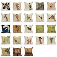 Wholesale giraffe beds resale online - Cartoon Deer Cushion Case Country Style Giraffe Animal Pillowcase Sofa Bed Linen Home Decor Throw Pillow Covers Funda De Cojin