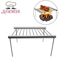 Wholesale bbq ovens resale online - BAYCHEER Picnic Barbecue Oven Rack Outdoor Travel Camping Portable BBQ Grill Stainless Steel Simple Tube Detachable BBQ Stent T200110