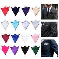 männer taschentücher verkauf großhandel-Sale Herren Satin Solid Plain Anzüge Einstecktuch Hochzeit Taschentuch Kopf wickeln Hals Schal Armband Handtuch