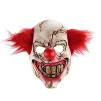 cabelo vermelho palhaço venda por atacado-YEDUO Horror Holloween Latex Adulto Máscara Palhaço com Partido Assassino Cabelo Vermelho
