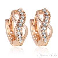 brincos austríacos venda por atacado-Brincos Mulheres Brinco de gota de cristal austríaco 18K Rose banhado a ouro Cubic Zirconia Women Earrings