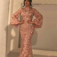longo laço rosa vestido de ouro venda por atacado-Brilhante rosa de renda de ouro sereia vestidos de baile gola alta mangas compridas apliques vestidos de noite até o chão mãe do vestido de noiva